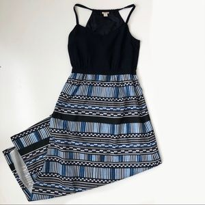 J. Crew Black And Blue Patterned Maxi Dress
